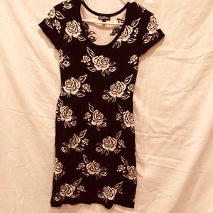 Freshman 1996 Floral Black/White Sweater Dress.